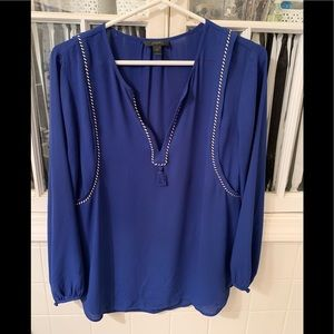 Jcrew long sleeved blouse with tassel